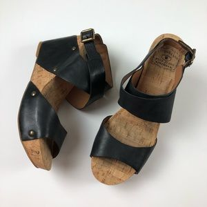 Lucky Brand Cork Wedge Sandal, Wrap Ankle 40/10